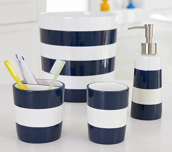 Navy Stripe Kids Bathroom Set Pottery