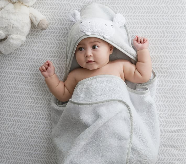 Hippo Baby Hooded Towel Amp Wash Cloth Pottery Barn Kids
