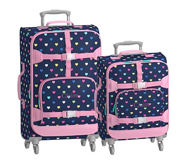 Navy Pink Hearts Spinner Kids Suitcases Pottery Barn Kids