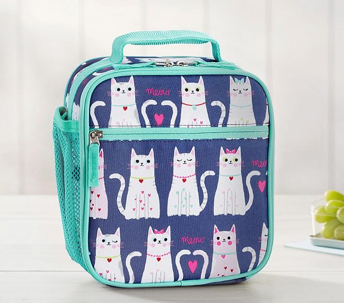 Mackenzie Navy Turquoise Kitty Hearts Classic Lunch Box