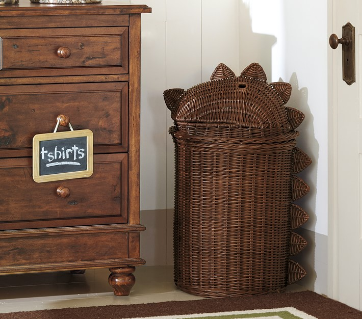 Dino Rattan Hamper Kids Storage Pottery Barn Kids
