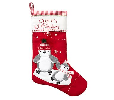 Baby S First Penguin Quilted Christmas Stocking Pottery