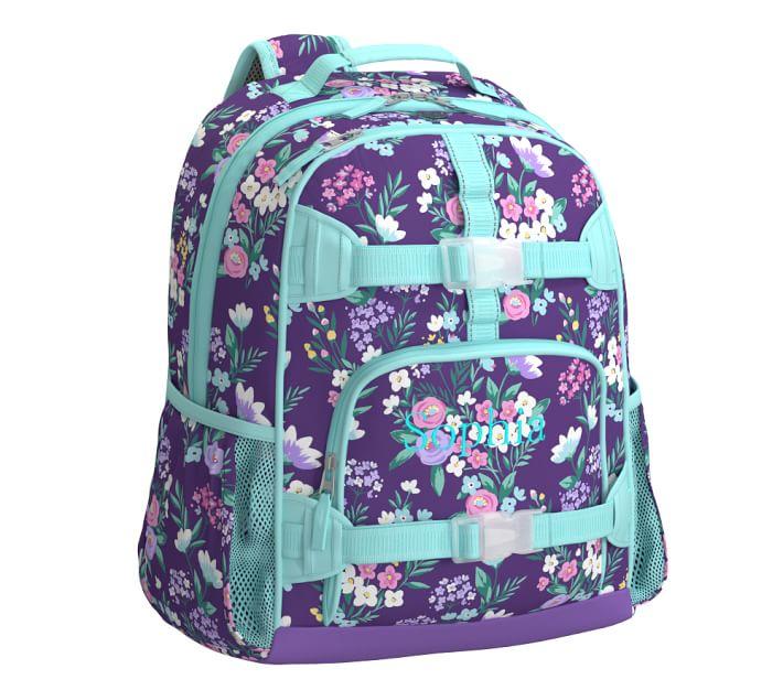 Mackenzie Purple Flower Bouquet Kids Backpack Pottery