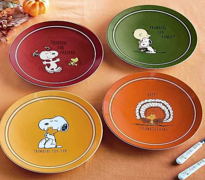 Peanuts 174 Thanksgiving Plates Kids Table Decor Pottery