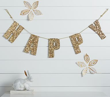 Emily Amp Meritt Gold Sequin Wall Letters Garland Pottery