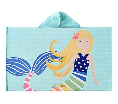 Blonde Rainbow Mermaid Hooded Beach Towel Pottery Barn Kids