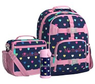 Potterybarn Mackenzie Pink Navy Multi Hearts Backpack & Cold Pack Lunch Bundle, Set Of 3