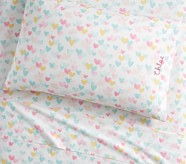 Potterybarn Organic Retro Heart Kids Sheets