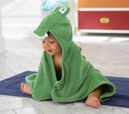 Potterybarn Alligator Baby Hooded Towel