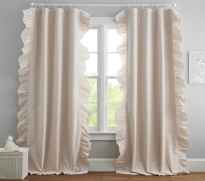 Evelyn Ruffle Border Blackout Curtain 63 Inches White