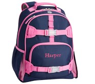 Potterybarn Mackenzie Navy Pink Trim Solid Backpacks