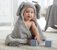 Potterybarn Faux-Fur Animal Baby Hooded Towels