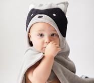 Potterybarn west elm x pbk Racoon Baby Hooded Towel