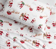 Potterybarn Organic Flannel Heritage Santa Kids Sheet Set