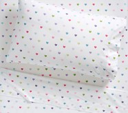 Potterybarn Organic Multicolored Heart Kids Sheet Set