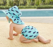 Potterybarn Whale Diaper Cover & Reversible Hat