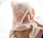 Potterybarn Nursery Fur Kitty Baby Hooded Towels