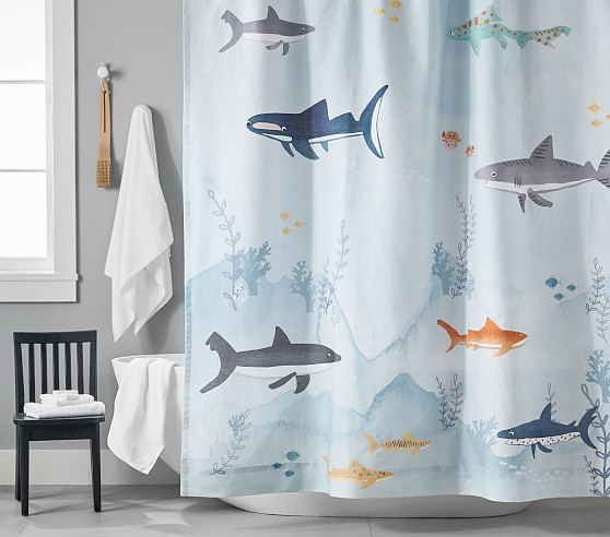 Shark Kids Shower Curtain Pottery Barn Kids