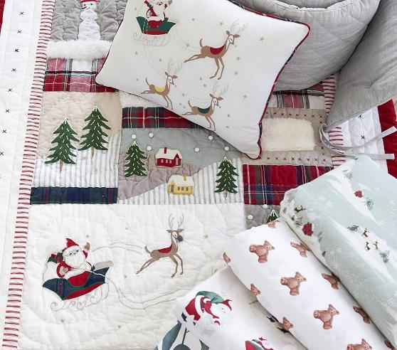 Classic Christmas Crib Bedding Sets Pottery Barn Kids