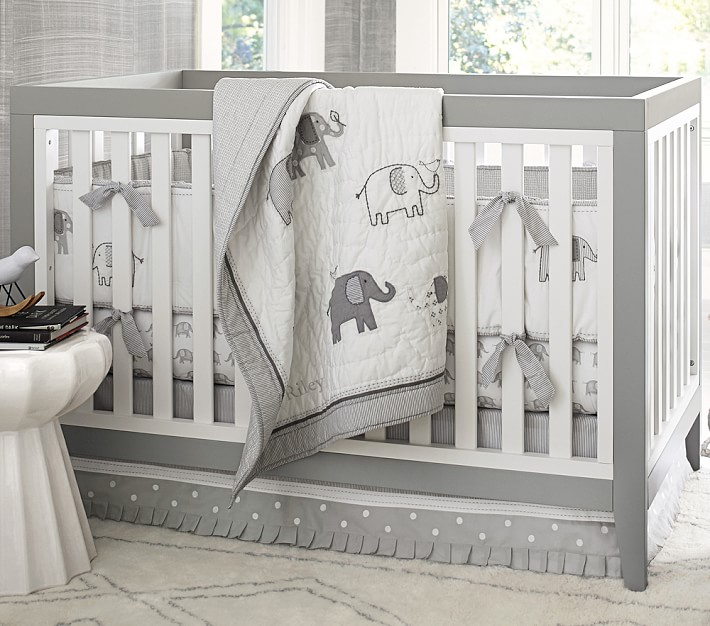 Taylor Elephant Crib Bedding Set, Baby Cot Bedding Accessories