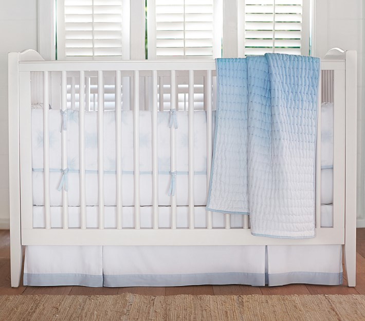 Blue Coastal Tie Dye Crib Bedding Set, Tie Dye Nursery Bedding