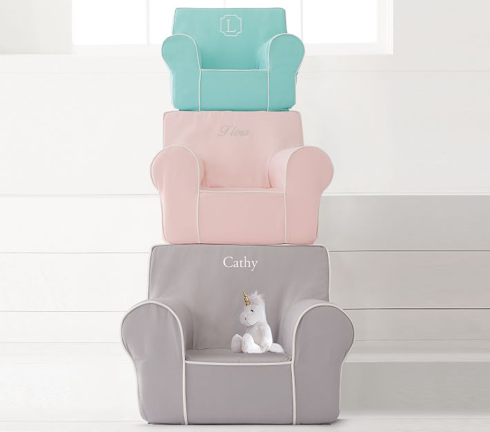 Blush With White Piping Anywhere Chair 174 Kids Armchair
