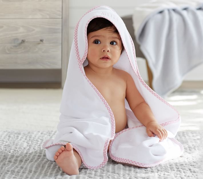 Gingham Baby Hooded Towels Pottery Barn Kids