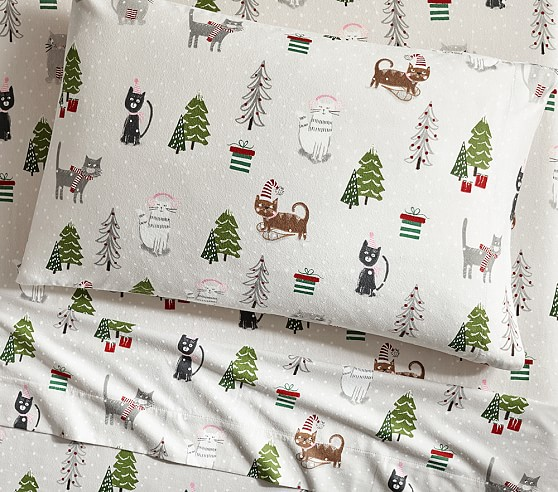 Holiday Cat Flannel Kids Sheet Set Pottery Barn Kids