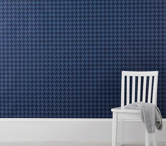 navy houndstooth peel stick wallpaper c