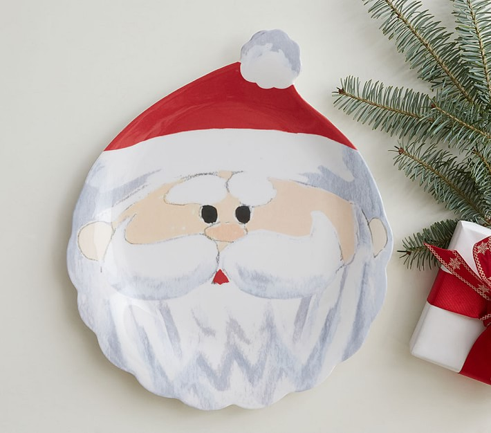 Pottery Barn Kids Holiday Santa With Presents Melamine Plate NEW