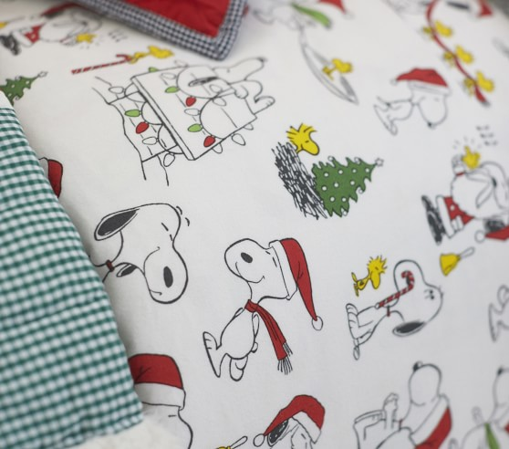Organic Flannel Peanuts Holiday Kids Sheet Set Pottery Barn Kids