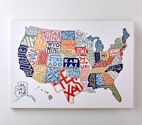 Us Map Canvas Wall Art USA Map Canvas Wall Art | Pottery Barn Kids