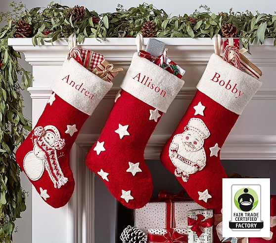 Classic Felted Wool Christmas Stocking Collection Pottery Barn Kids