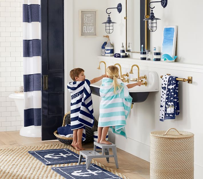 Rugby Stripe Hooded Towel Pottery Barn Kids