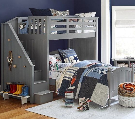 Catalina Stair Loft Bed For Kids Lower Bed Set Pottery Barn Kids