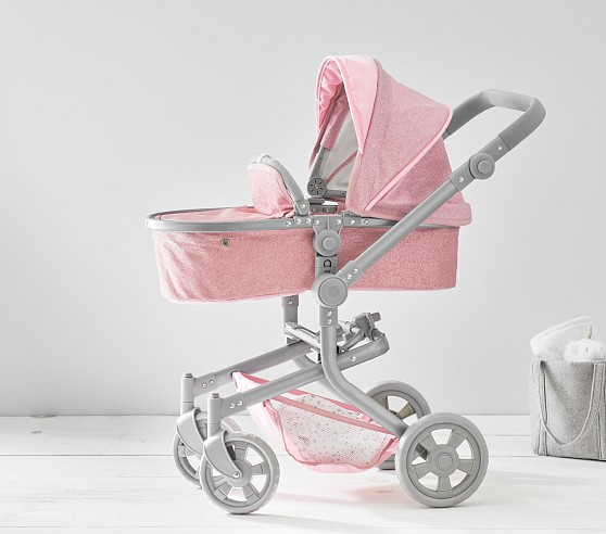pink glitter convertible 3 in 1 doll stroller c