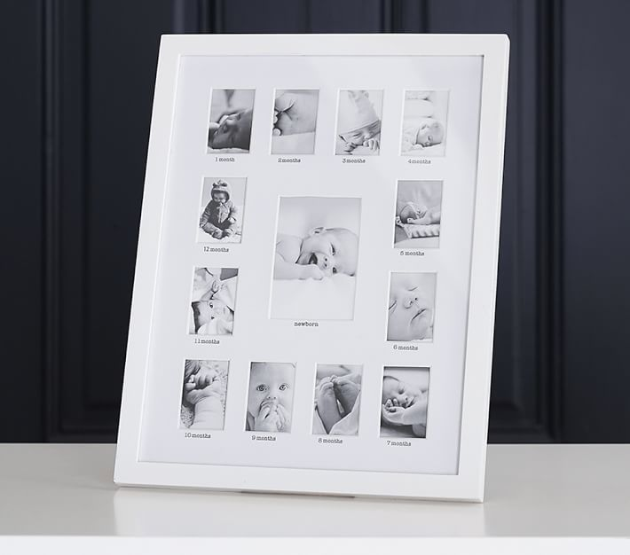 White Lacquer First Year Frame Baby Keepsake Pottery