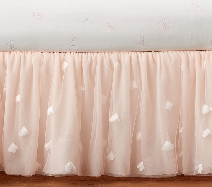 Pink Crib Skirt Tulle Bed Skirt Dust Ruffle Crib Skirts for Baby Girls