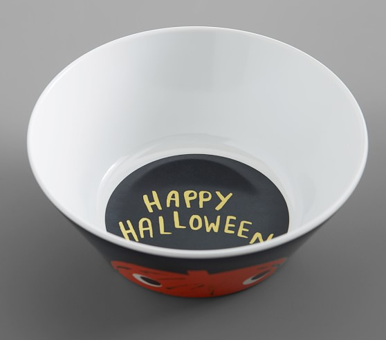NEW Pottery Barn Kids Happy Halloween Pumpkin Glow in the Dark Melamine Plate