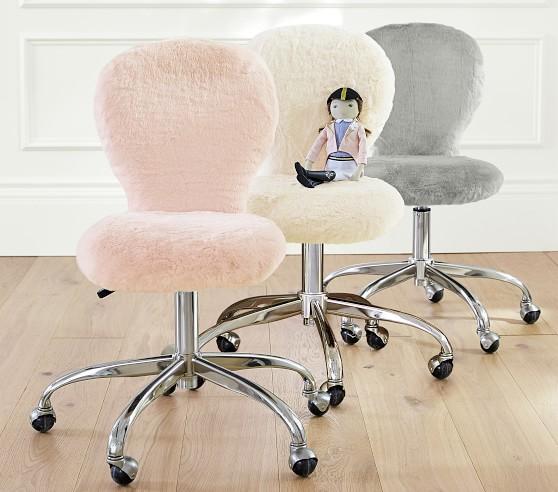 Brushed Nickel Base Round Upholstered Kids Desk Chair Pottery Barn Kids