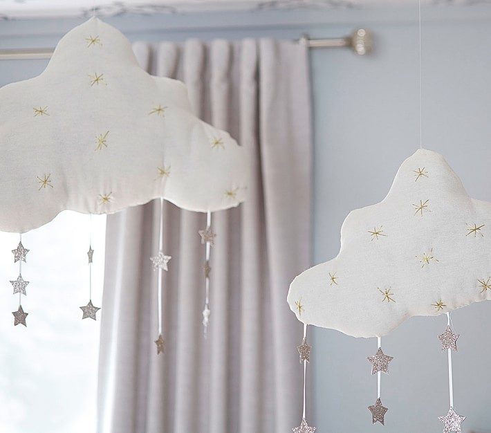 Hanging Clouds With Stars Kids Wall Decor Pottery Barn Kids
