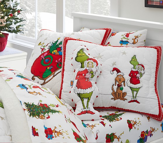 Dr Seuss S The Grinch Max Flannel Kids Sheet Set Pottery Barn Kids