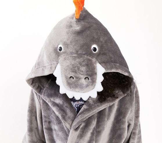 NWT Pottery Barn Kids Shark Critter bath robe large size 8-10