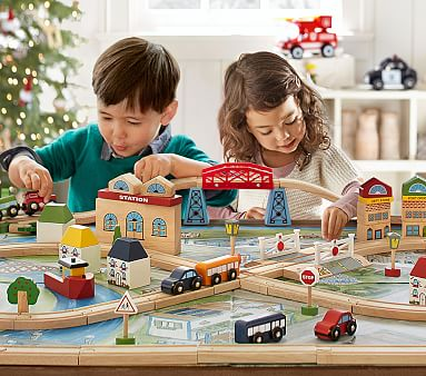 Town And Country Wooden Train Set Kids Toys Pottery