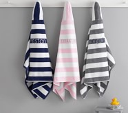 Potterybarn Rugby Stripe Hooded Towel