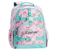 Potterybarn Mackenzie Aqua Pink Bouquets Girls Backpacks