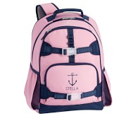 Potterybarn Pink Navy Trim Solid Kids Backpacks