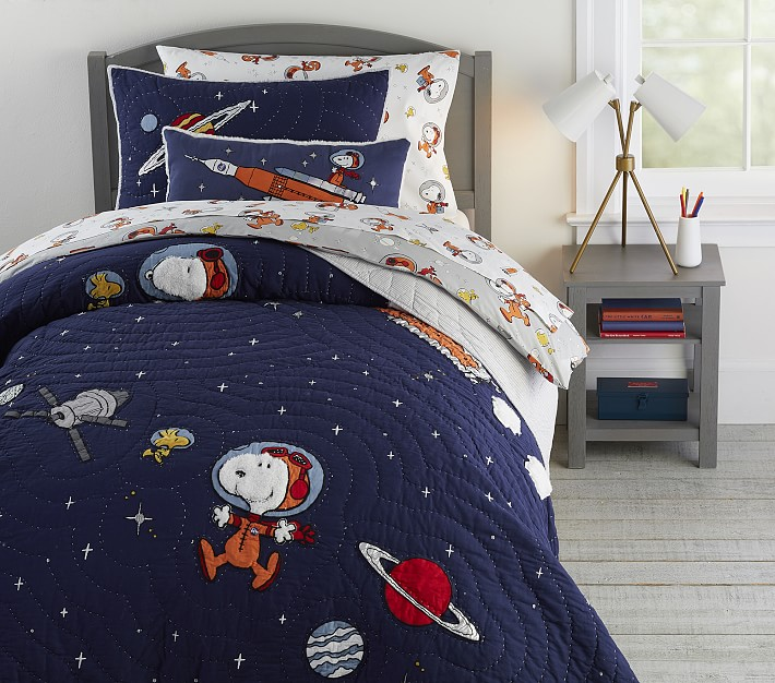 Glow In The Dark Snoopy Space Kids, Queen Size Space Bedding