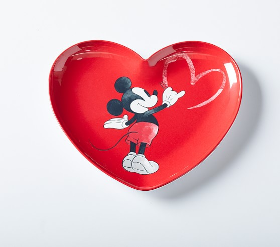 Disney Mickey Mouse Valentines Heart Shaped Plates Pottery Barn Kids