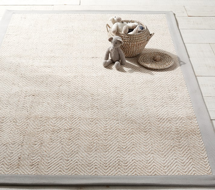 Boys Chenille Jute Thick Solid Border Rug Solid Color Rug Pottery Barn Kids